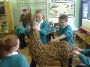 School Art Project - weaving a willow deer
