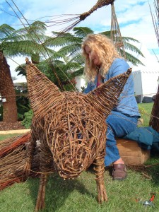 Simone weaving pig at Southport Show